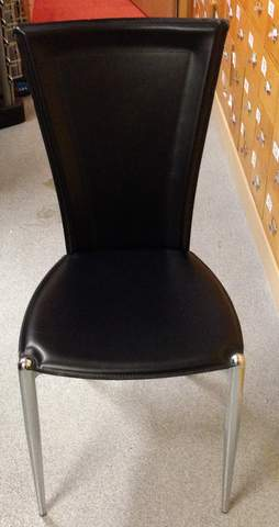 Italian black leather chairs